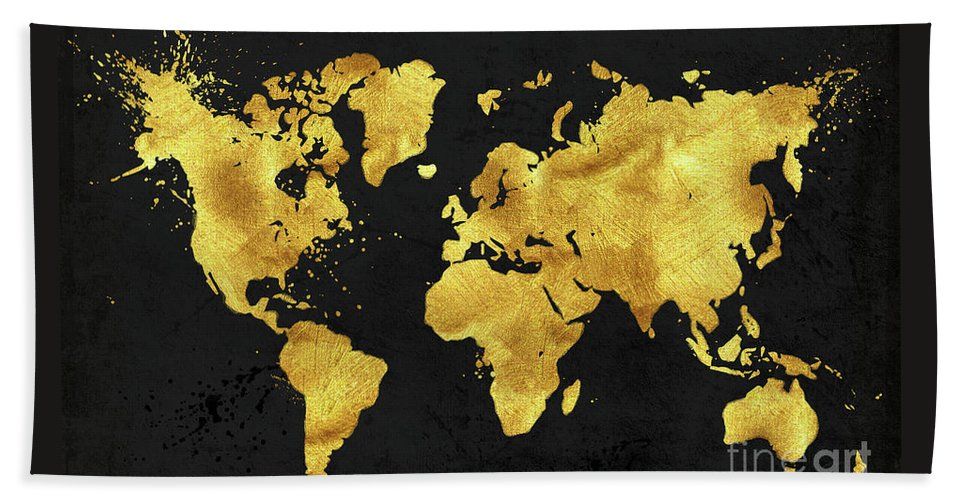 Karat World In Black Gold Metal World Map Beach Towel For Sale - Black and gold world map