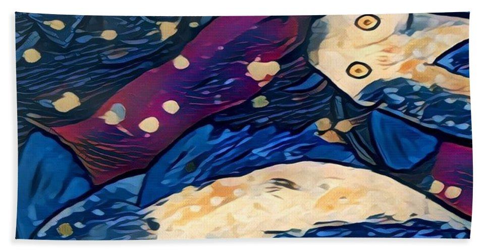Beach Towel featuring the digital art Koi Fish by Melinda Sullivan Image and Design