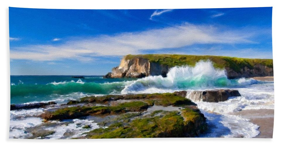 A Beach Towel featuring the digital art A Landscape Drawing by Malinda Spaulding