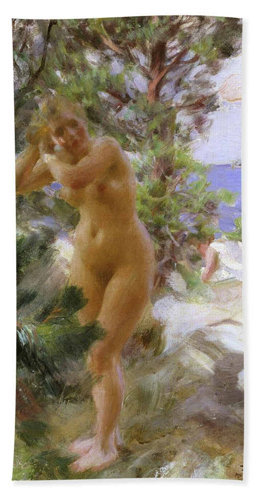 Anders Zorn Beach Towel featuring the painting After The Bath by Anders Zorn