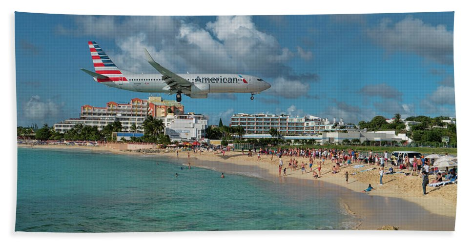 American Beach Towel featuring the photograph American Airlines At St. Maarten by David Gleeson