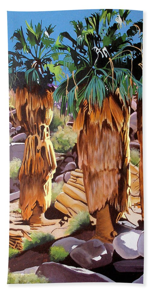 Coachella Valley Beach Towel featuring the painting 3 Amigos by Joe Roselle