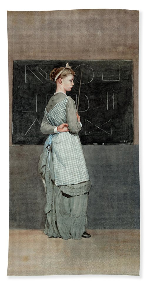 Winslow Homer Beach Towel featuring the drawing Blackboard by Winslow Homer