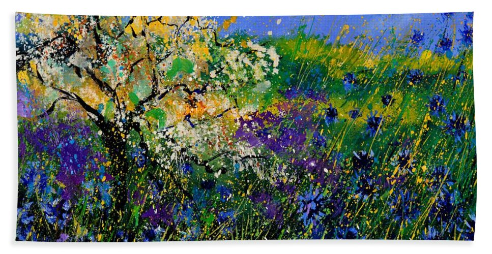 Flowers Beach Towel featuring the painting Blue Cornflowers by Pol Ledent