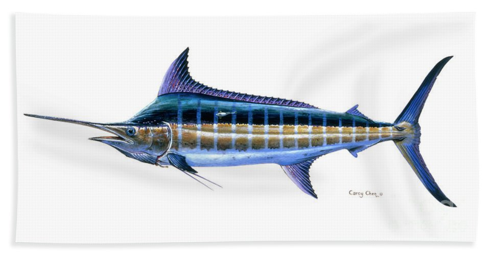 Blue Marlin Beach Towel featuring the painting Blue Marlin by Carey Chen