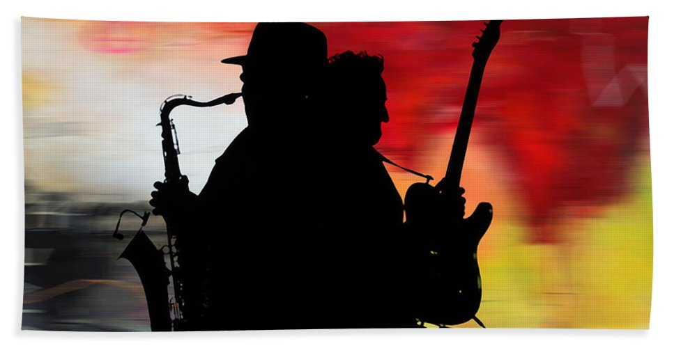 Bruce Springsteen Watercolor Portrait On Worn Distressed Canvas Mixed Media Mixed Media Beach Towel featuring the mixed media Bruce Springsteen Clarence Clemons by Marvin Blaine