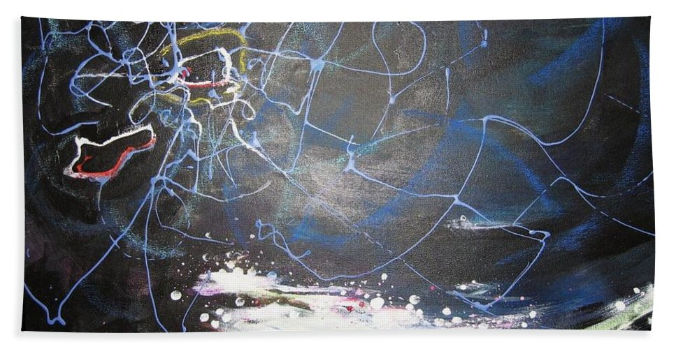 Abstract Paintings Beach Sheet featuring the painting Buckwheat Field by Seon-Jeong Kim