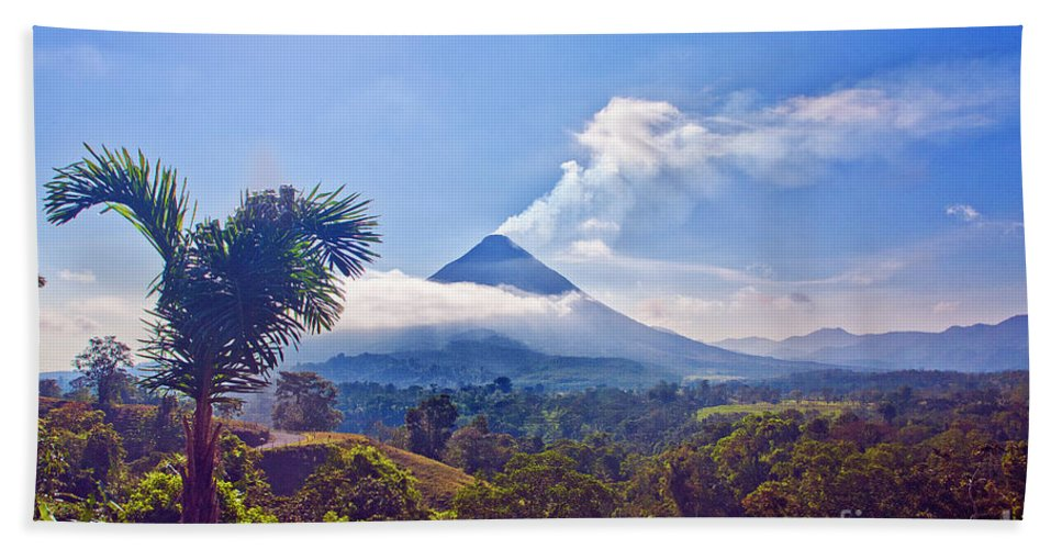 Volcano Beach Towel featuring the photograph Costa Rica Volcano by Madeline Ellis