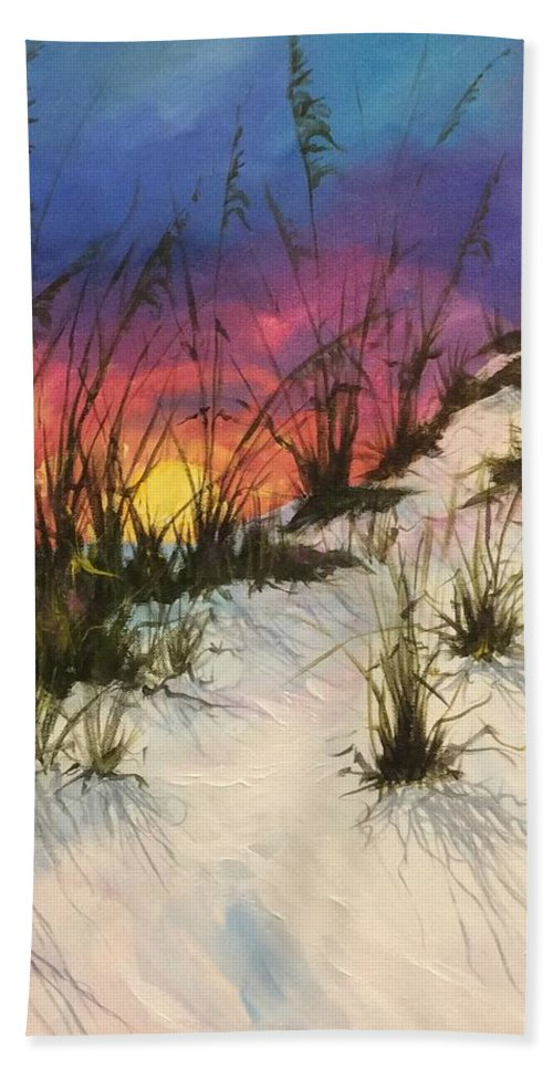 Beach Painting Beach Towel featuring the painting Day's End by Michael Cook