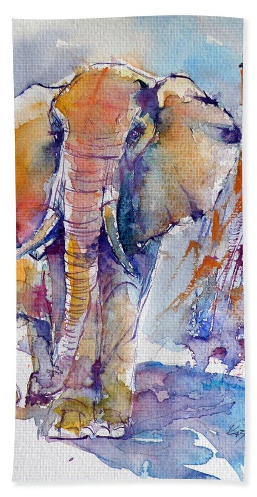 Elephant Beach Towel featuring the painting Elephant by Kovacs Anna Brigitta