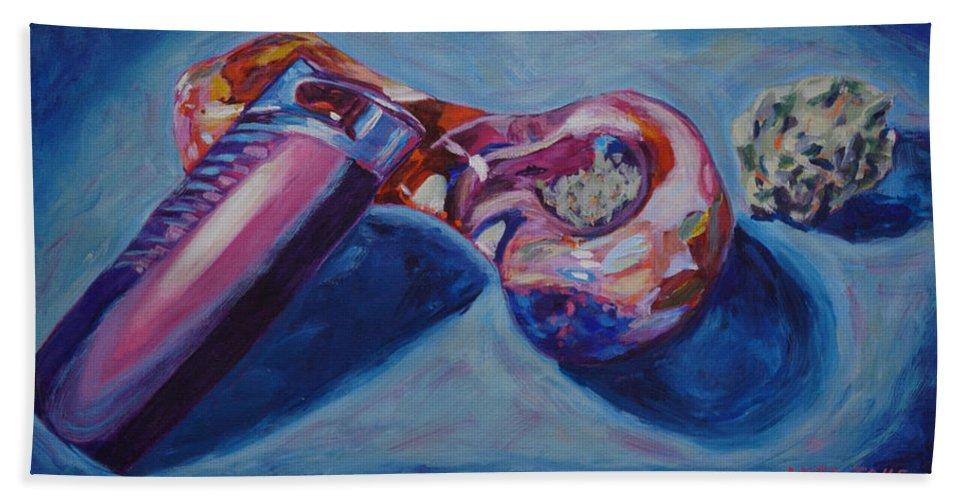 Marijuana Beach Towel featuring the painting 3 Essentials by Anita Toke