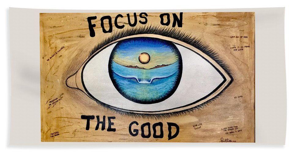 Positiveprints Beach Towel featuring the painting Focus On The Good 3 by Paul Carter