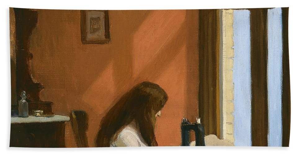 Girl At Sewing Machine Beach Towel featuring the painting Girl At Sewing Machine by Edward Hopper