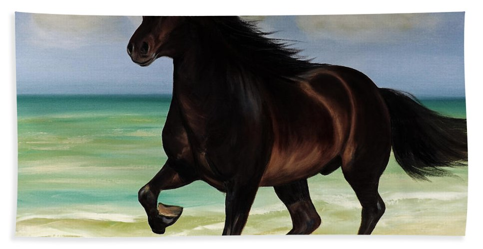 Horse Beach Sheet featuring the painting Horses In Paradise Run by Gina De Gorna