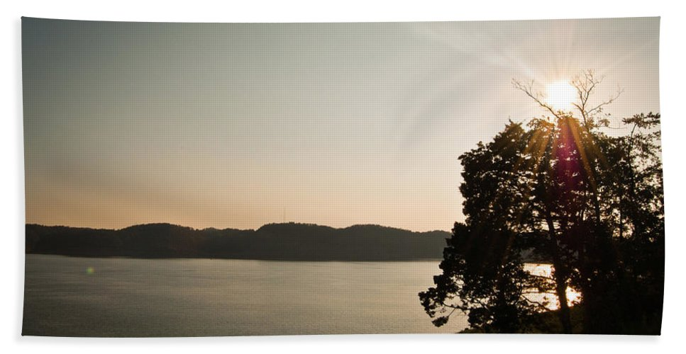 Lake Beach Towel featuring the photograph Lake Cumberland Sunset by Amber Flowers
