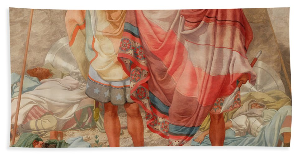 Painting Beach Towel featuring the painting Mercy - David Spareth Saul's Life by Mountain Dreams