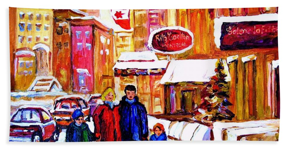 Montreal Beach Towel featuring the painting Montreal Street In Winter by Carole Spandau