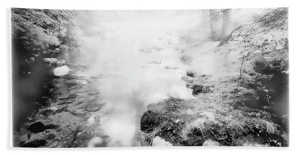 Mountain Stream Beach Towel featuring the photograph Mountain Stream In Summer Mist by A Gurmankin