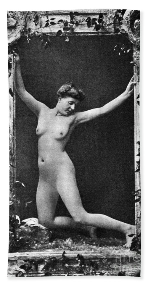 1900 Beach Towel featuring the photograph Nude Posing, C1900 by Granger