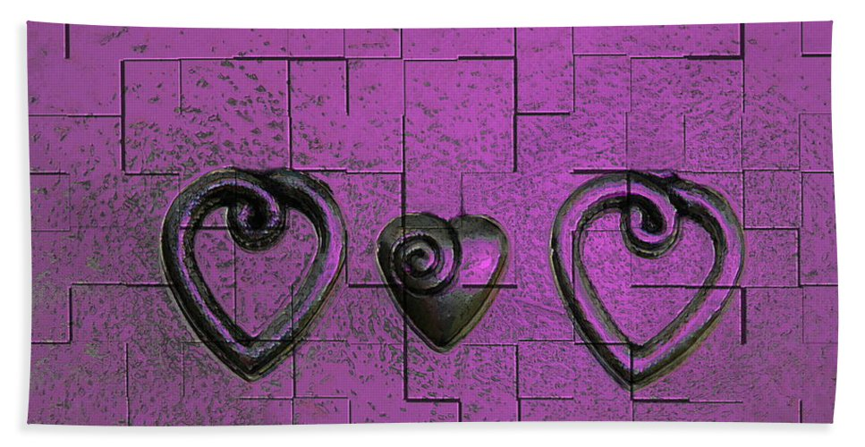 Abstracts Pink Purple Beach Sheet featuring the photograph 3 Of Hearts by Linda Sannuti
