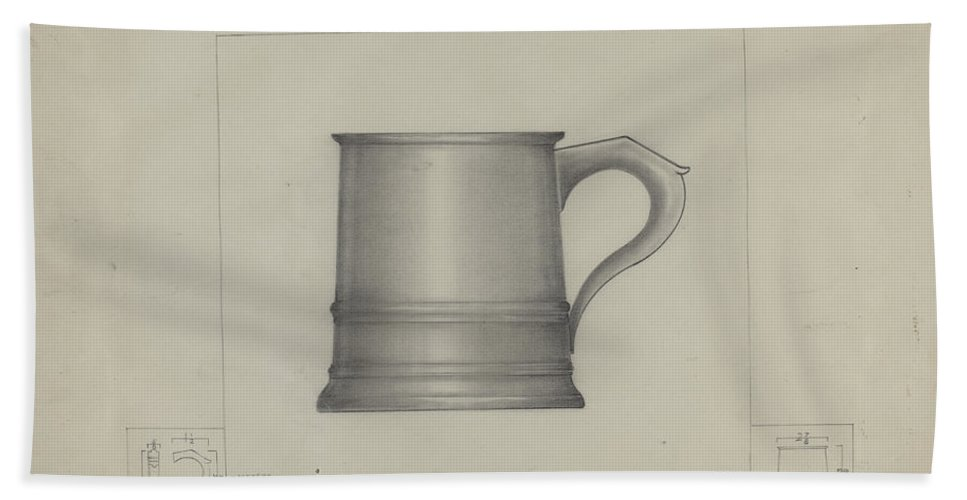 Beach Towel featuring the drawing Pewter Mug by Henry Meyers