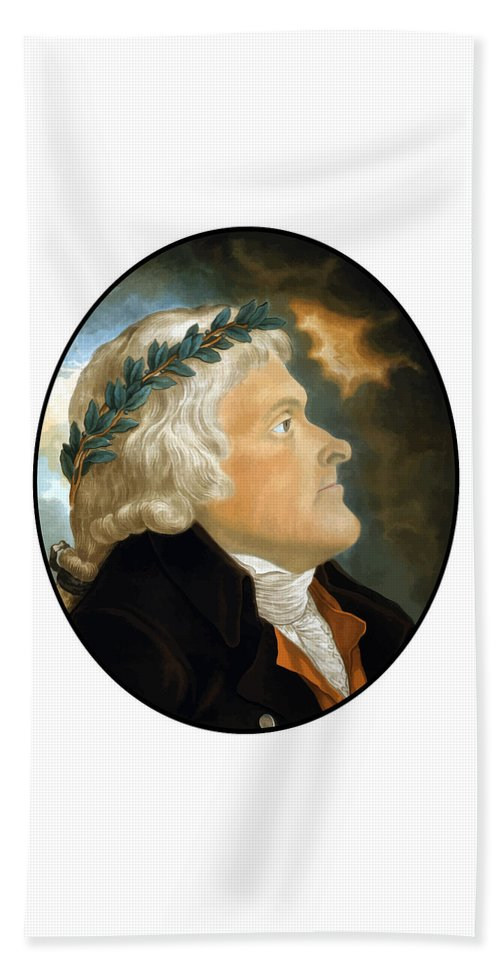 Thomas Jefferson Beach Towel featuring the painting President Thomas Jefferson - Two by War Is Hell Store