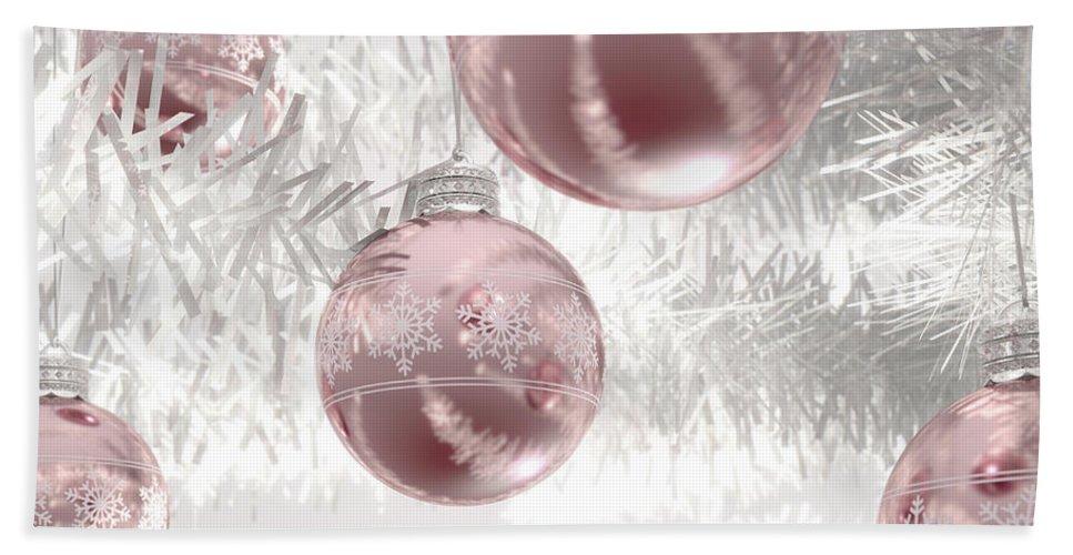 Bauble Beach Towel featuring the digital art Rose Gold Christmas Baubels by Allan Swart
