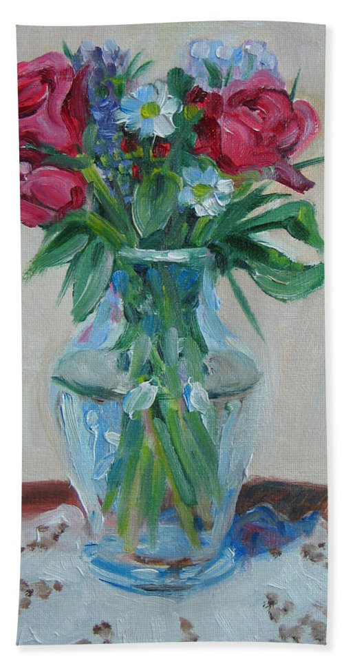 Roses Beach Towel featuring the painting 3 Roses by Paul Walsh