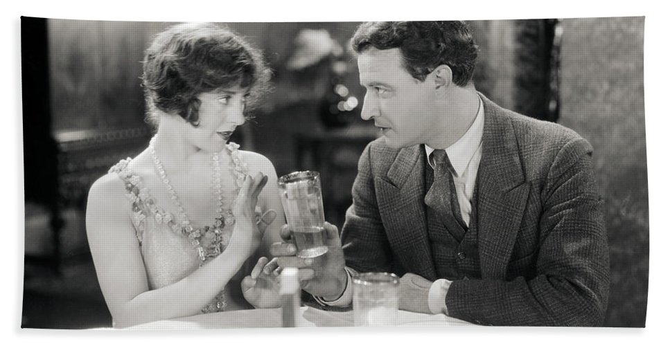 -drinking- Beach Towel featuring the photograph Silent Film Still: Drinking by Granger