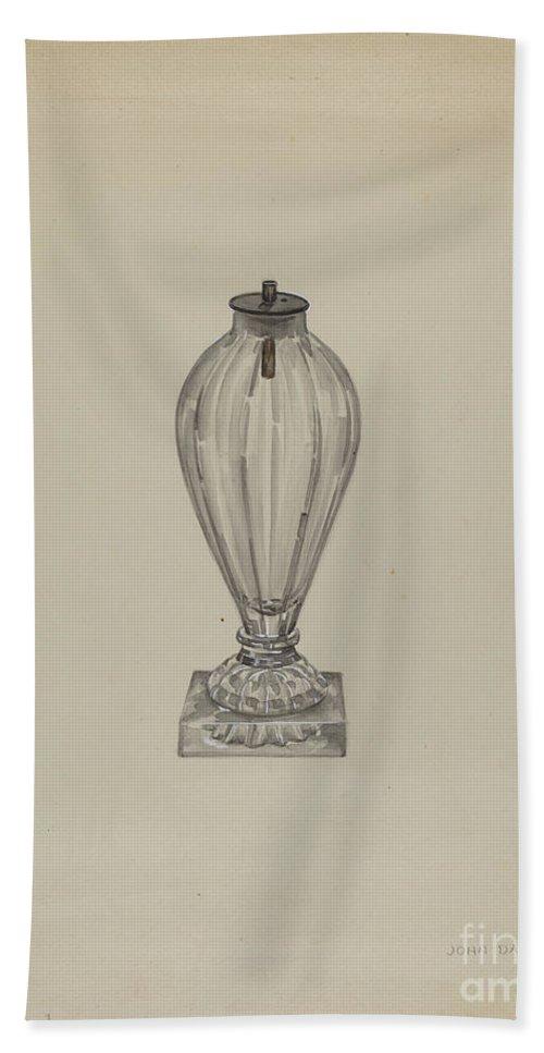 Beach Towel featuring the drawing Spark Lamp by John Dana