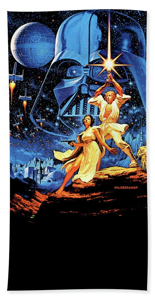 Star Wars Beach Towel featuring the digital art Star Wars Episode Iv - A New Hope 1977 by Geek N Rock