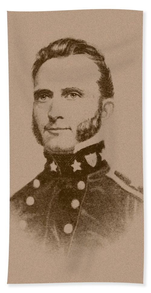 Stonewall Jackson Beach Towel featuring the drawing Stonewall Jackson - Four by War Is Hell Store