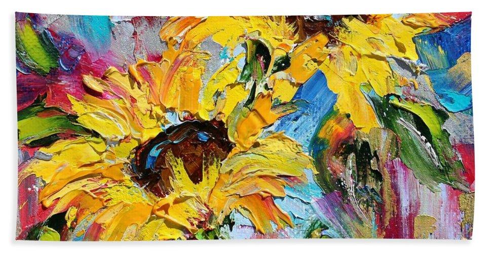 Sunflowers Beach Towel featuring the painting Sunflower Joy by Karen Tarlton