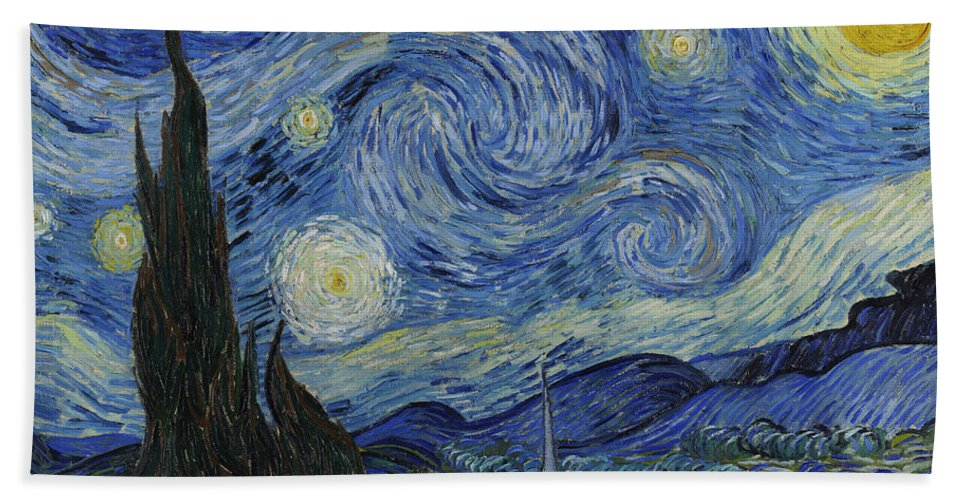 Vincent Beach Towel featuring the painting The Starry Night by Vincent Van Gogh