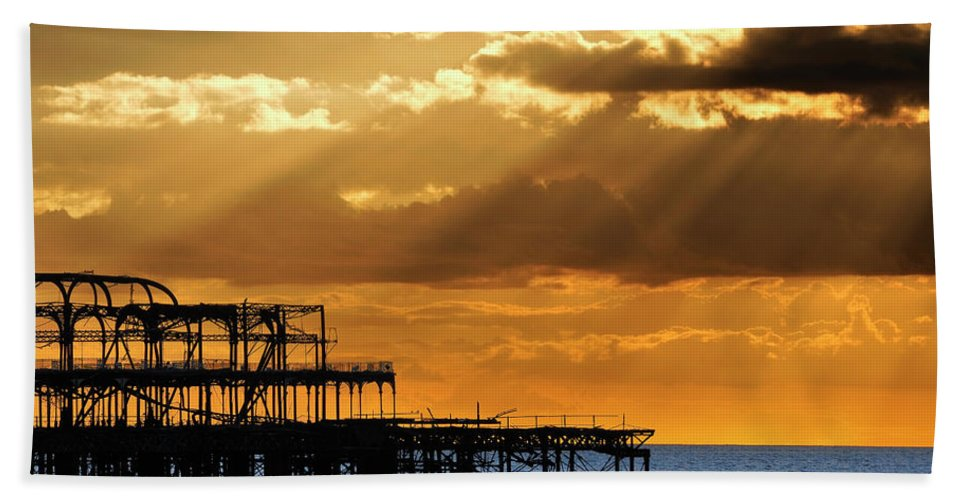 Brighton Beach Towel featuring the photograph The West Pier In Brighton At Sunset by Dutourdumonde Photography