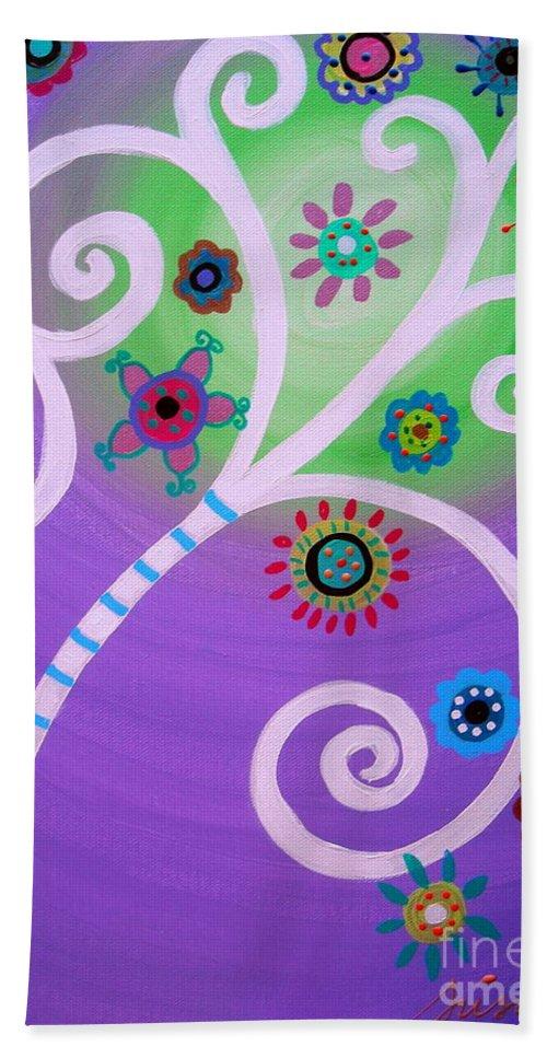 Tree Beach Towel featuring the painting Tree Of Life by Pristine Cartera Turkus
