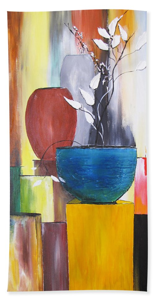 Still Life Beach Towel featuring the painting 3 Vases by Gary Smith
