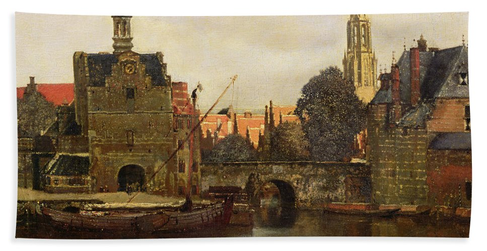 View Of Delft C.1660-61 (oil On Canvas) By Jan Vermeer (1632-75) Beach Towel featuring the painting View Of Delft by Jan Vermeer