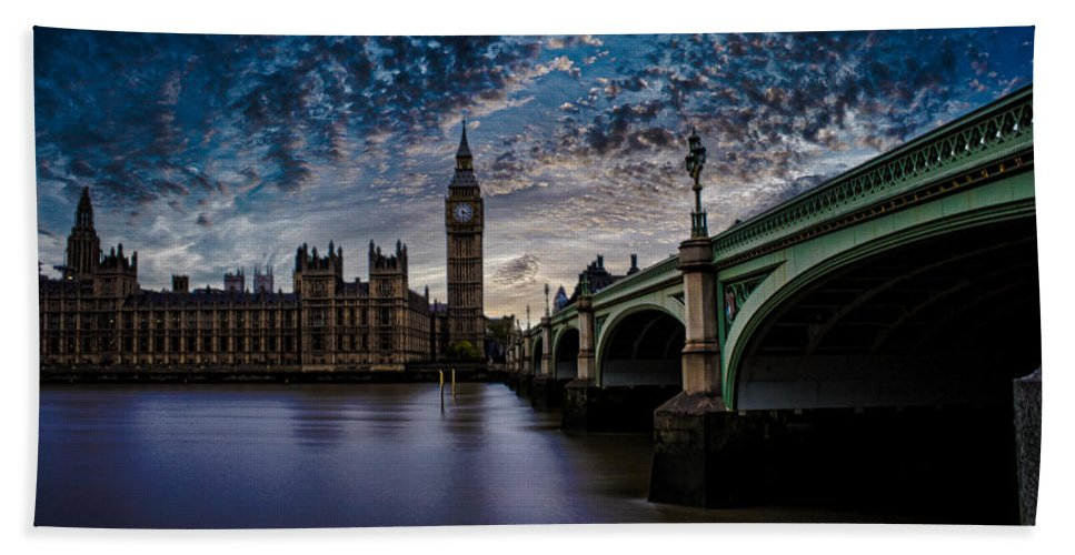 Westminster Beach Towel featuring the photograph Westminster Bridge by Martin Newman