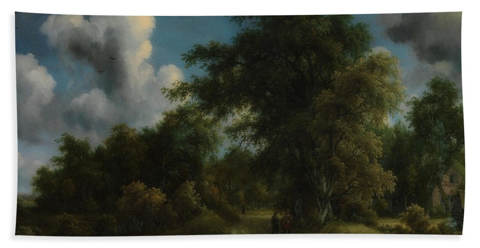 Painting Beach Towel featuring the painting Woodland Road by Meyndert Hobbema