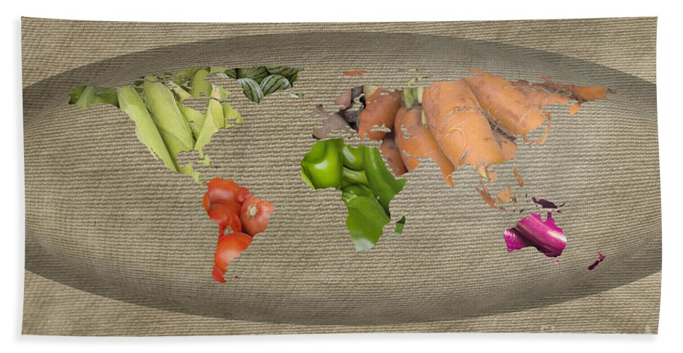 World Beach Towel featuring the photograph World Fruits Vegetables Map by Ezume Images