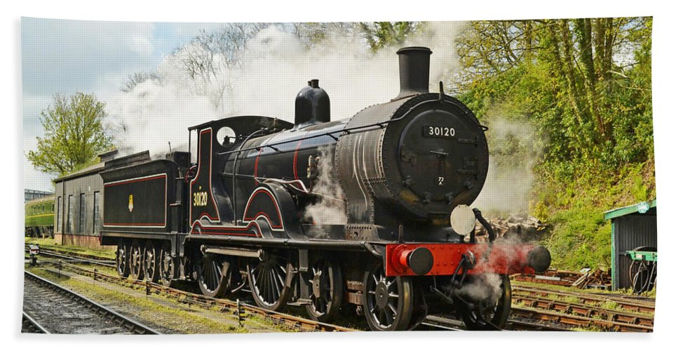 Steam Beach Towel featuring the photograph Steam Train At Rest. by Ashley Jackson