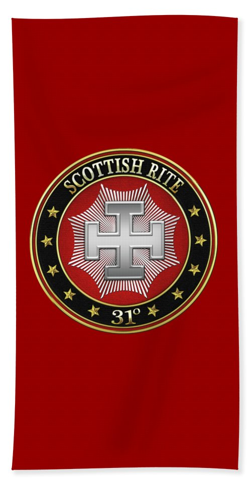 'scottish Rite' Collection By Serge Averbukh Beach Towel featuring the digital art 31st Degree - Inspector Inquisitor Jewel On Red Leather by Serge Averbukh