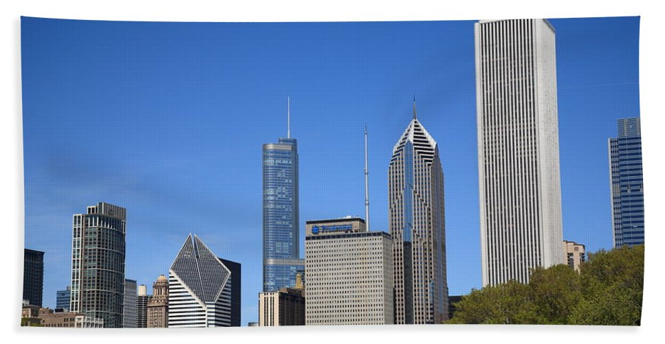 America Beach Towel featuring the photograph Chicago Skyline by Frank Romeo