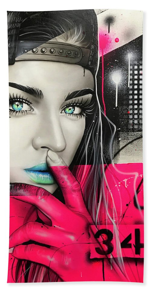 Street Life Beach Towel featuring the painting 34 Dj Girl by Christian Chapman Art