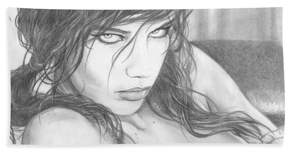 #adrianalima Beach Towel featuring the drawing Pout by Kristopher VonKaufman