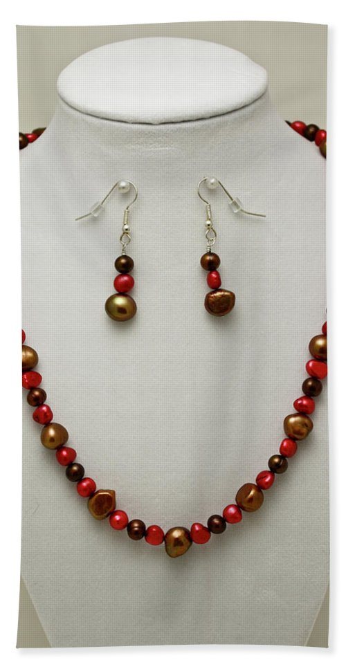 Handmade Beach Towel featuring the jewelry 3536 Freshwater Pearl Necklace And Earring Set by Teresa Mucha