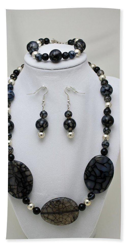 Handmade Beach Towel featuring the jewelry 3548 Cracked Agate Necklace Bracelet And Earrings Set by Teresa Mucha