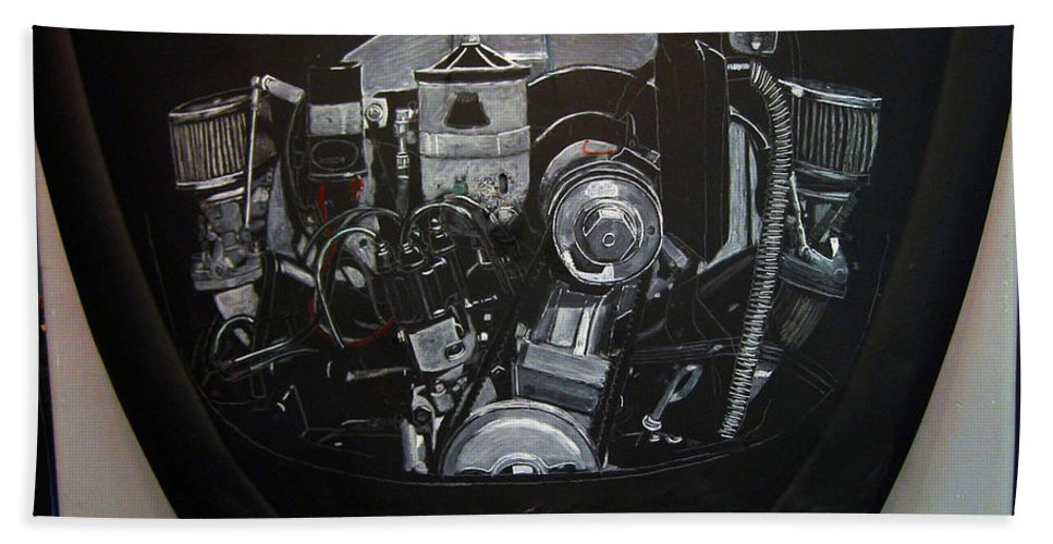 Vw Beach Towel featuring the painting 356 Porsche Engine On A Vw Cover by Richard Le Page
