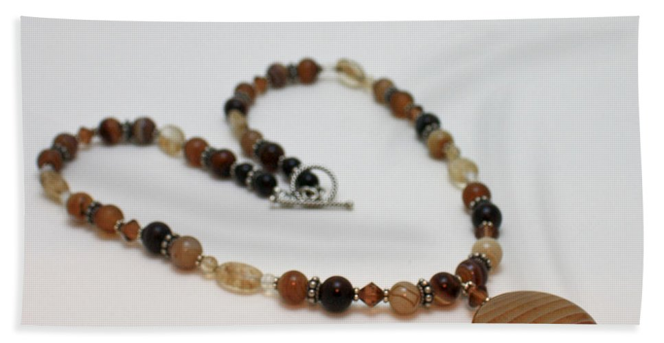 Handmade Beach Towel featuring the jewelry 3574 Coffee Onyx Necklace by Teresa Mucha
